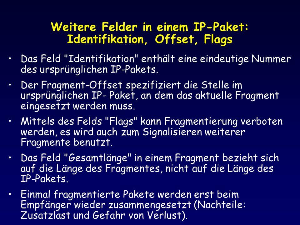 Weitere Felder in einem IP-Paket: Identifikation, Offset, Flags Das Feld
