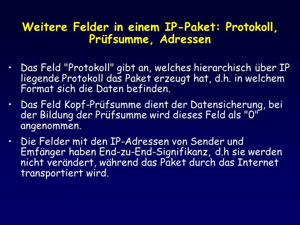 Weitere Felder in einem IP-Paket: Protokoll, Prüfsumme, Adressen Das Feld