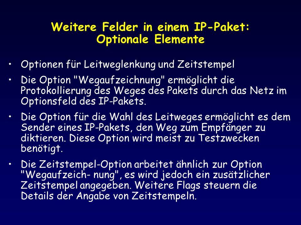 Weitere Felder in einem IP-Paket: Optionale Elemente Optionen für Leitweglenkung und Zeitstempel Die Option