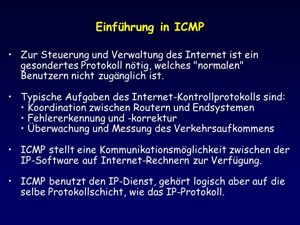 Einführung in ICMP Zur Steuerung und Verwaltung des Internet ist ein gesondertes Protokoll nötig, welches