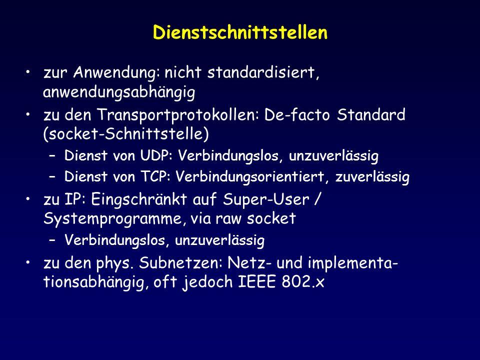 Dienstschnittstellen zur Anwendung: nicht standardisiert, anwendungsabhängig zu den Transportprotokollen: De-facto Standard (socket-Schnittstelle) –Di
