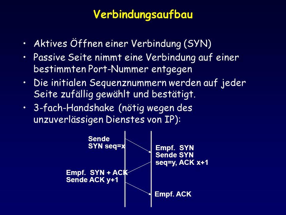 Verbindungsaufbau Aktives Öffnen einer Verbindung (SYN) Passive Seite nimmt eine Verbindung auf einer bestimmten Port-Nummer entgegen Die initialen Se