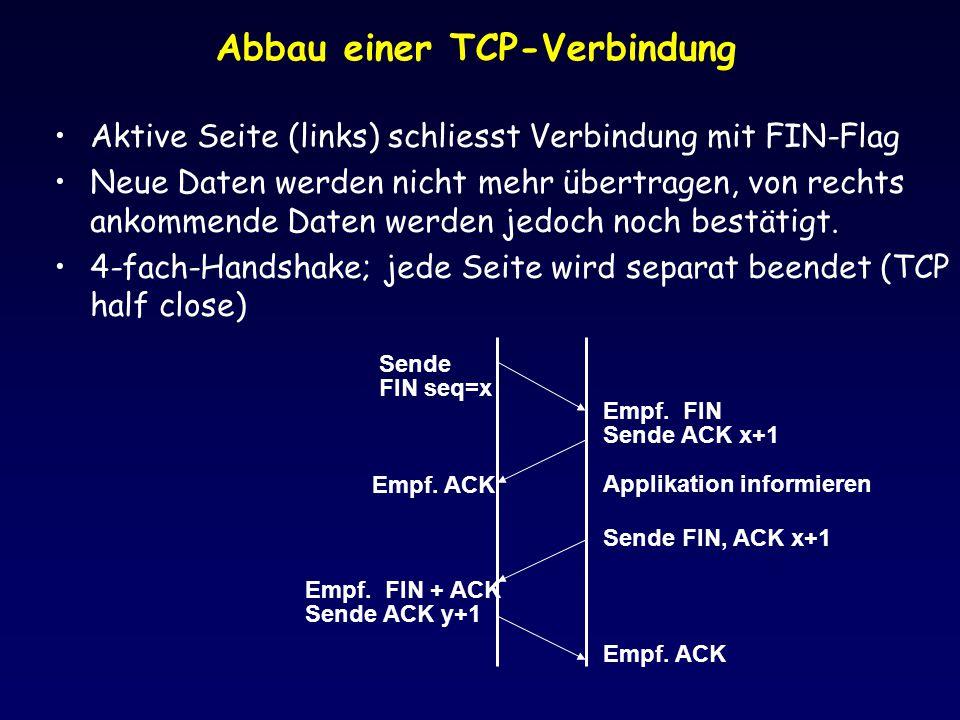 Abbau einer TCP-Verbindung Aktive Seite (links) schliesst Verbindung mit FIN-Flag Neue Daten werden nicht mehr übertragen, von rechts ankommende Daten