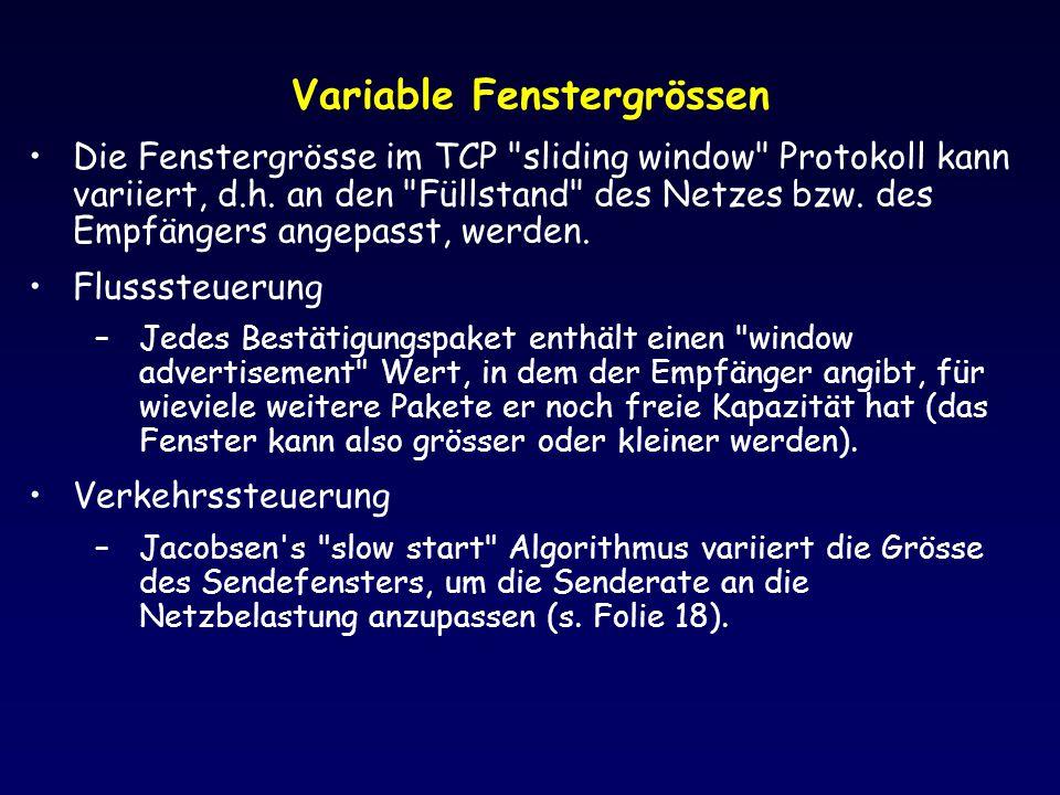 Variable Fenstergrössen Die Fenstergrösse im TCP