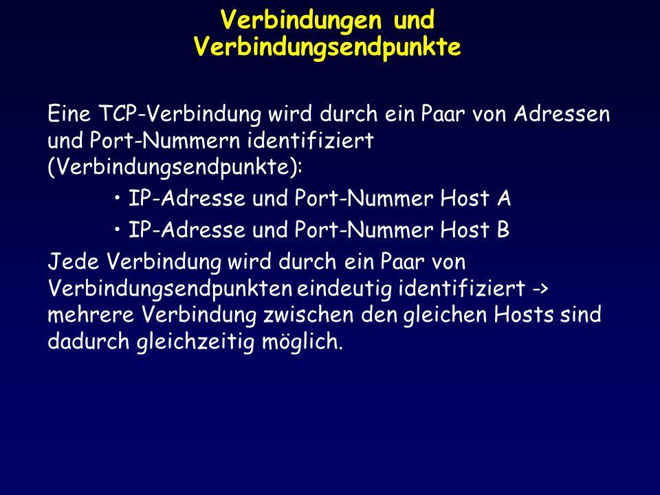 Verbindungen und Verbindungsendpunkte Eine TCP-Verbindung wird durch ein Paar von Adressen und Port-Nummern identifiziert (Verbindungsendpunkte): IP-A