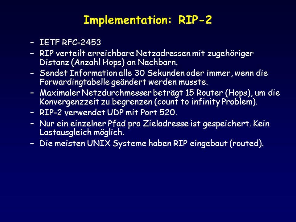 Implementation: RIP-2 –IETF RFC-2453 –RIP verteilt erreichbare Netzadressen mit zugehöriger Distanz (Anzahl Hops) an Nachbarn. –Sendet Information all