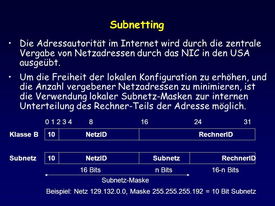 Subnetting Die Adressautorität im Internet wird durch die zentrale Vergabe von Netzadressen durch das NIC in den USA ausgeübt. Um die Freiheit der lok