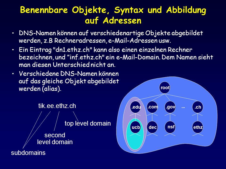 root.edu.com.gov ucbdec nsf.ch ethz... Benennbare Objekte, Syntax und Abbildung auf Adressen DNS-Namen können auf verschiedenartige Objekte abgebildet