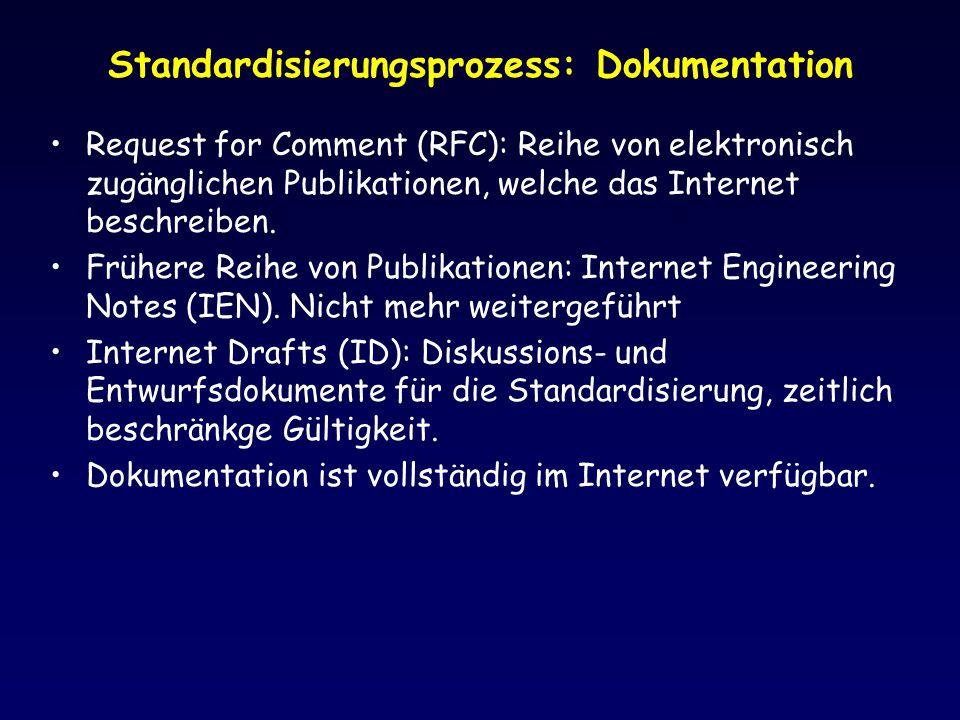 Standardisierungsprozess: Dokumentation Request for Comment (RFC): Reihe von elektronisch zugänglichen Publikationen, welche das Internet beschreiben.