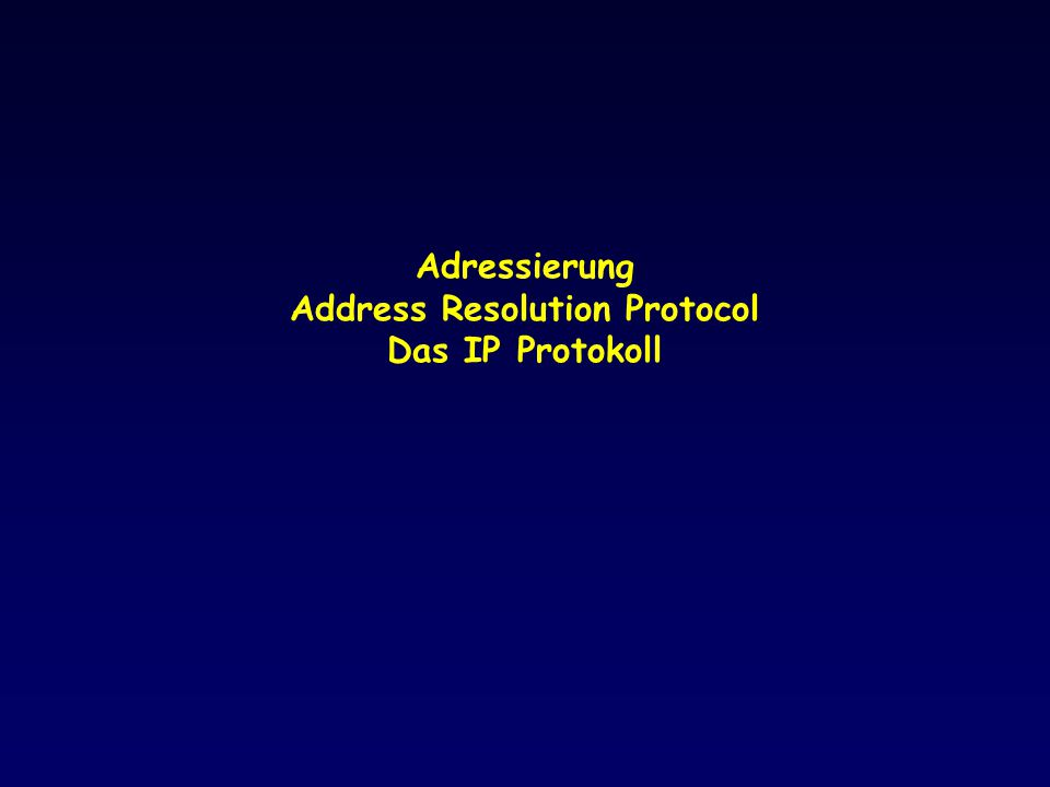 Adressierung Address Resolution Protocol Das IP Protokoll