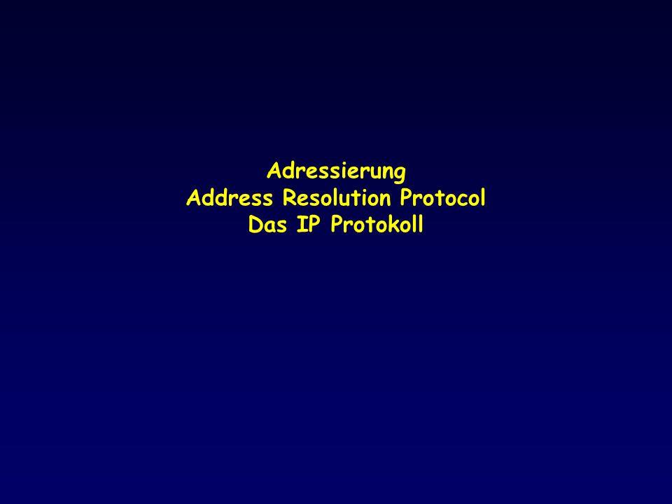 Adressierung von Anwendungsprozessen: Beispiel TCP/IP - Portnummern Rechner Internet Router Physikalisches Netz IP 3 4UDP Proto=17 AP1AP2AP3 37 1245 56 Port- Nummern
