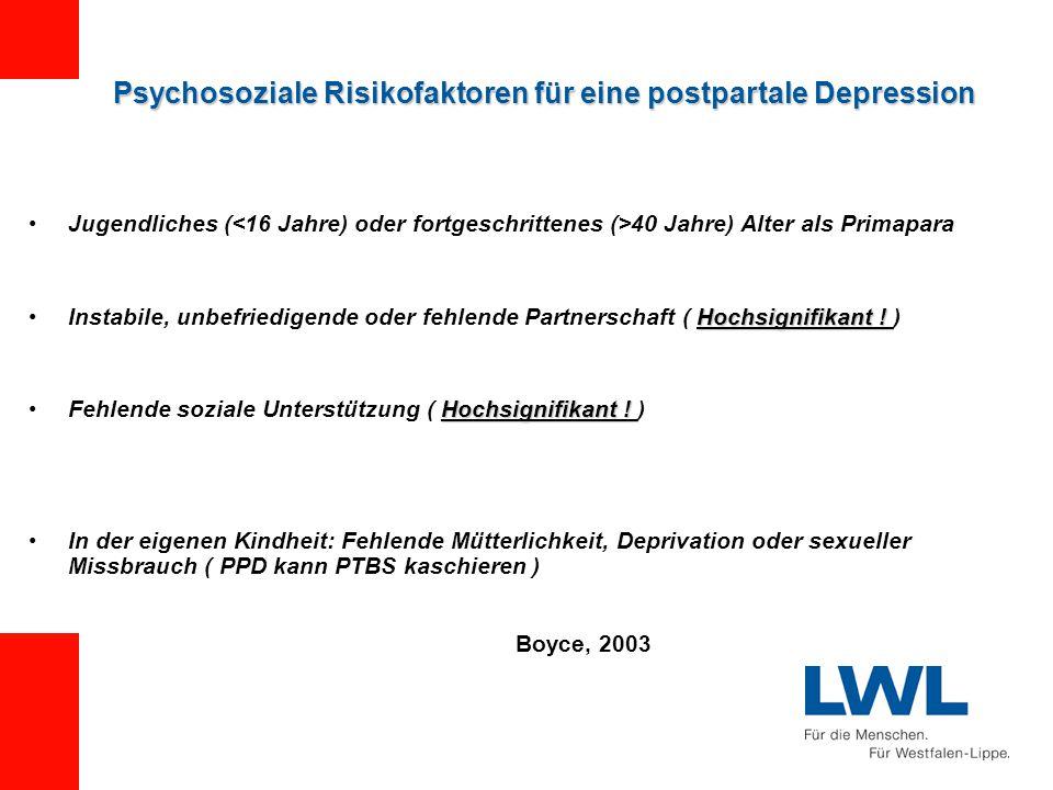 Psychosoziale Risikofaktoren für eine postpartale Depression Jugendliches ( 40 Jahre) Alter als Primapara Hochsignifikant !Instabile, unbefriedigende oder fehlende Partnerschaft ( Hochsignifikant .