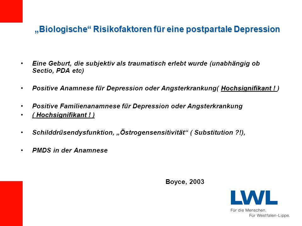 """""""Biologische Risikofaktoren für eine postpartale Depression Eine Geburt, die subjektiv als traumatisch erlebt wurde (unabhängig ob Sectio, PDA etc) Hochsignifikant !Positive Anamnese für Depression oder Angsterkrankung( Hochsignifikant ."""
