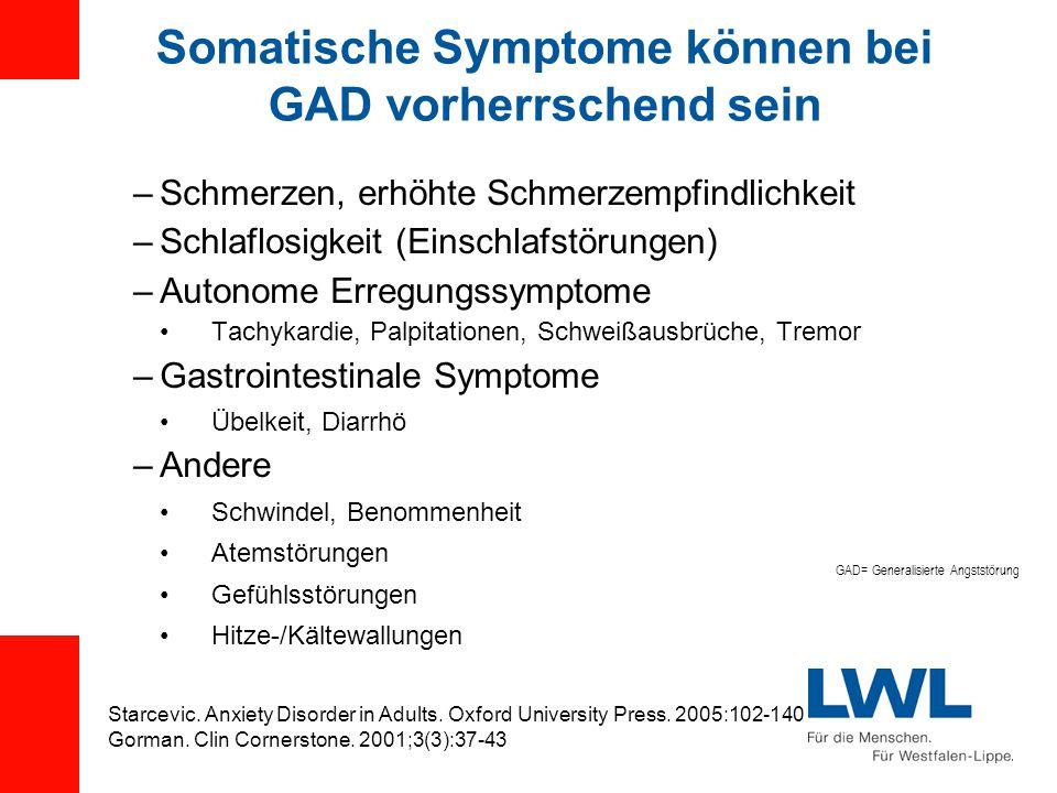 Somatische Symptome können bei GAD vorherrschend sein –Schmerzen, erhöhte Schmerzempfindlichkeit –Schlaflosigkeit (Einschlafstörungen) –Autonome Erregungssymptome Tachykardie, Palpitationen, Schweißausbrüche, Tremor –Gastrointestinale Symptome Übelkeit, Diarrhö –Andere Schwindel, Benommenheit Atemstörungen Gefühlsstörungen Hitze-/Kältewallungen Starcevic.