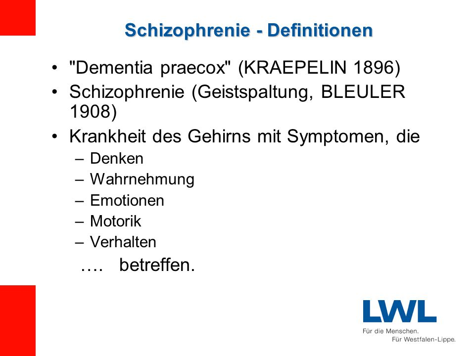 Schizophrenie - Definitionen