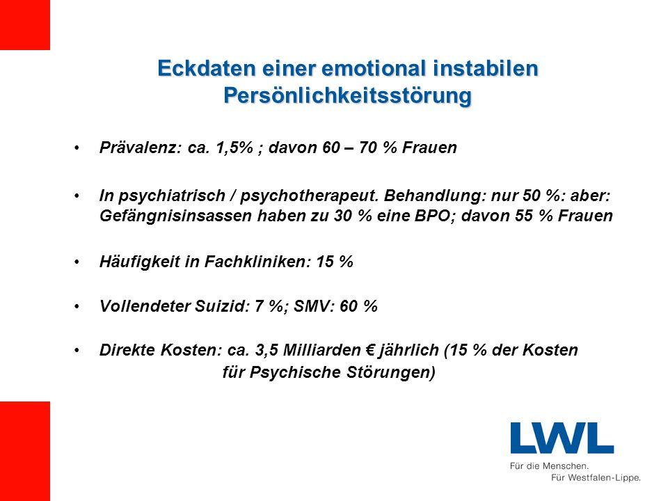 Eckdaten einer emotional instabilen Persönlichkeitsstörung Prävalenz: ca.