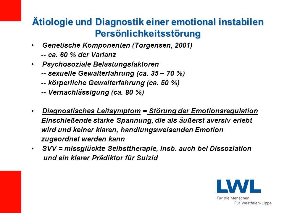 Ätiologie und Diagnostik einer emotional instabilen Persönlichkeitsstörung Genetische Komponenten (Torgensen, 2001) -- ca.