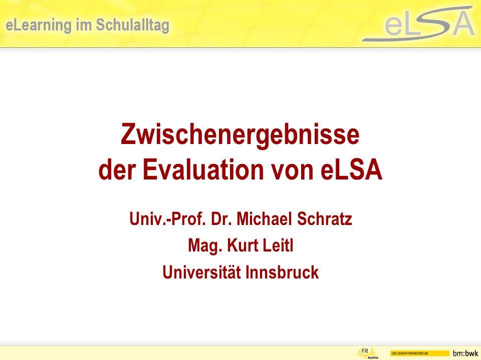 Zwischenergebnisse der Evaluation von eLSA Univ.-Prof.