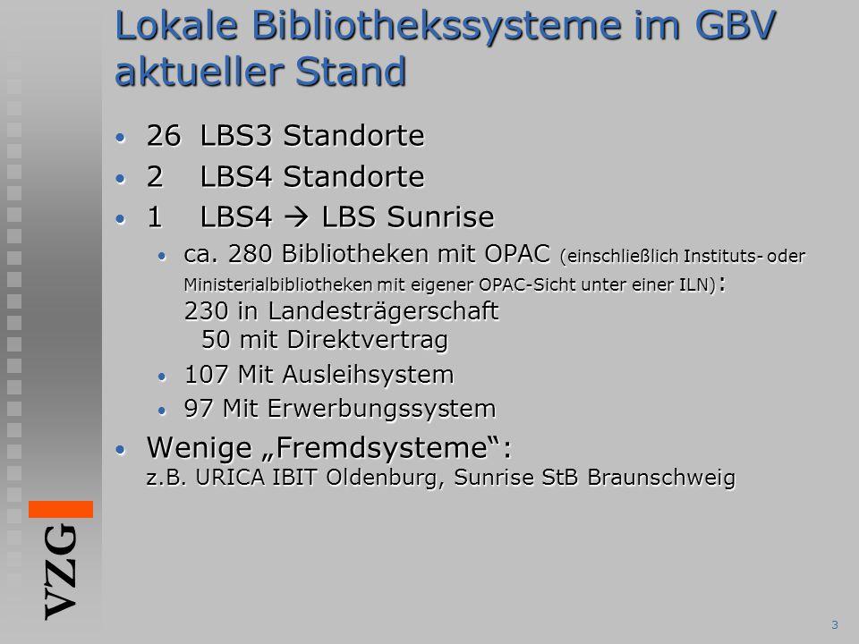 VZG 3 Lokale Bibliothekssysteme im GBV aktueller Stand 26LBS3 Standorte 26LBS3 Standorte 2LBS4 Standorte 2LBS4 Standorte 1LBS4  LBS Sunrise 1LBS4  L