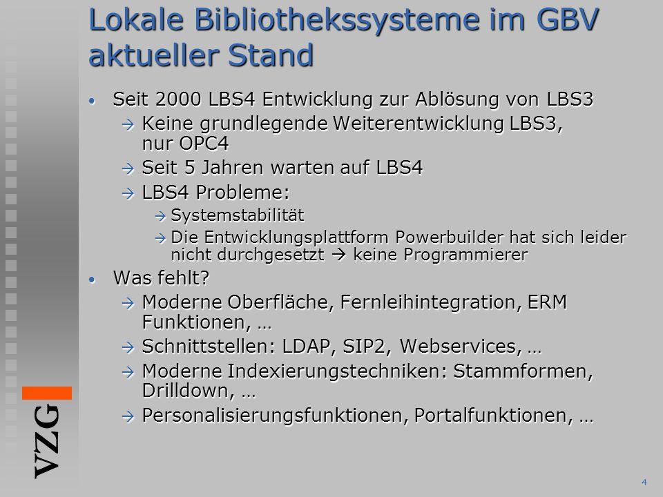 VZG 4 Lokale Bibliothekssysteme im GBV aktueller Stand Seit 2000 LBS4 Entwicklung zur Ablösung von LBS3 Seit 2000 LBS4 Entwicklung zur Ablösung von LB
