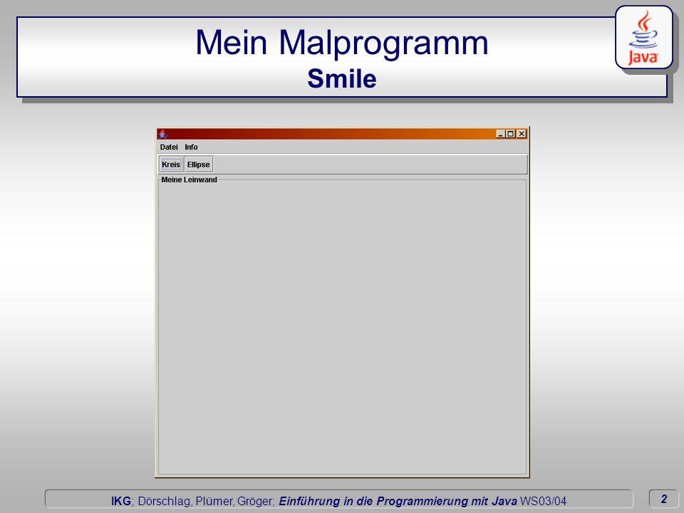 2 Dörschlag IKG; Dörschlag, Plümer, Gröger; Einführung in die Programmierung mit Java WS03/04 Mein Malprogramm Smile