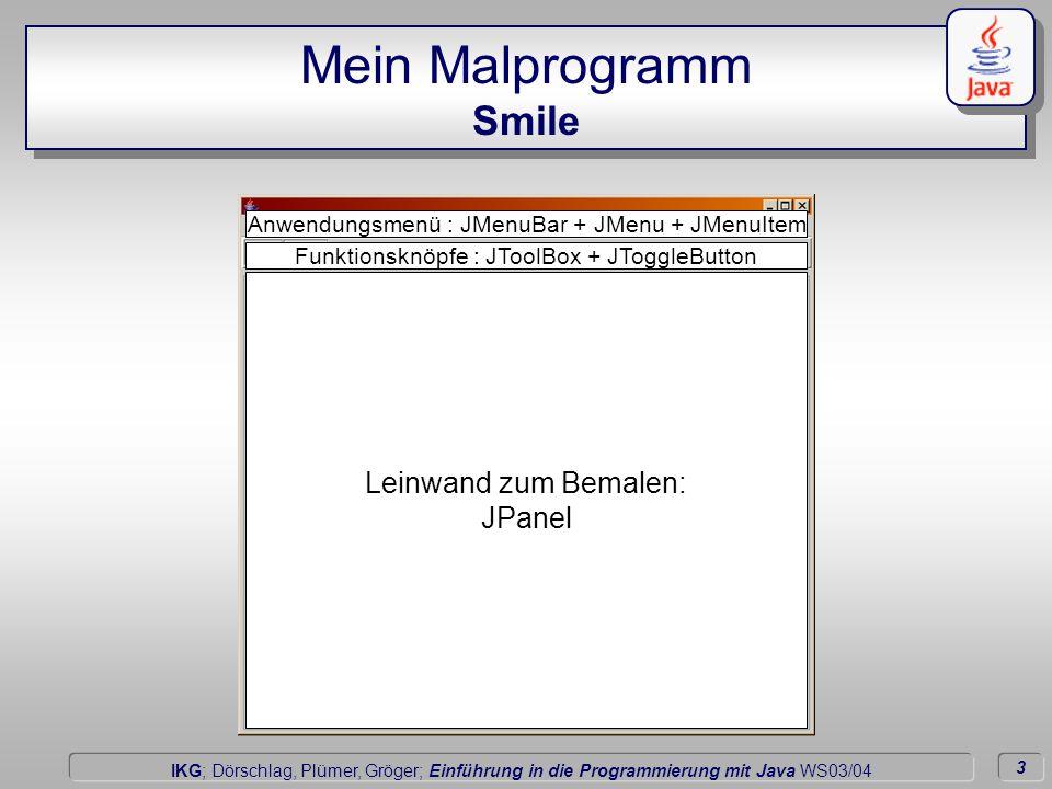 3 Dörschlag IKG; Dörschlag, Plümer, Gröger; Einführung in die Programmierung mit Java WS03/04 Mein Malprogramm Smile Leinwand zum Bemalen: JPanel Funktionsknöpfe : JToolBox + JToggleButton Anwendungsmenü : JMenuBar + JMenu + JMenuItem
