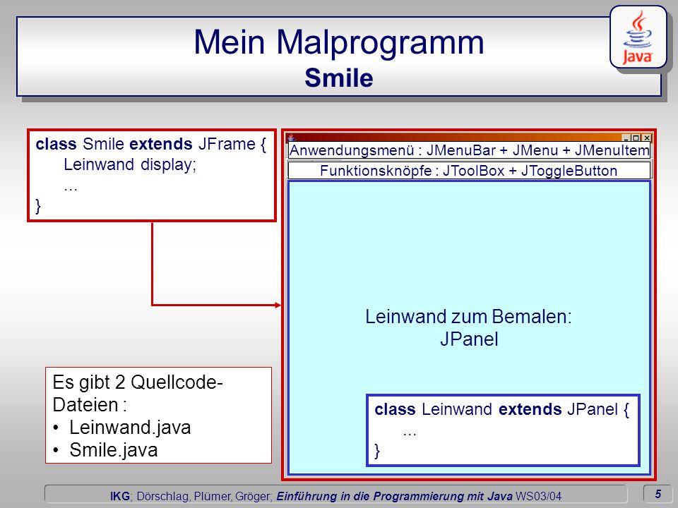 6 Dörschlag IKG; Dörschlag, Plümer, Gröger; Einführung in die Programmierung mit Java WS03/04 Mein Malprogramm Die Leinwand der Anwendung hinzufügen import javax.swing.*; import java.awt.*; class Smile extends JFrame { Leinwand display; public Smile(){ display = new Leinwand( this); this.getContentPane().setLayout( new BorderLayout()); this.getContentPane().add( display, BorderLayout.CENTER); initComponets(); }...
