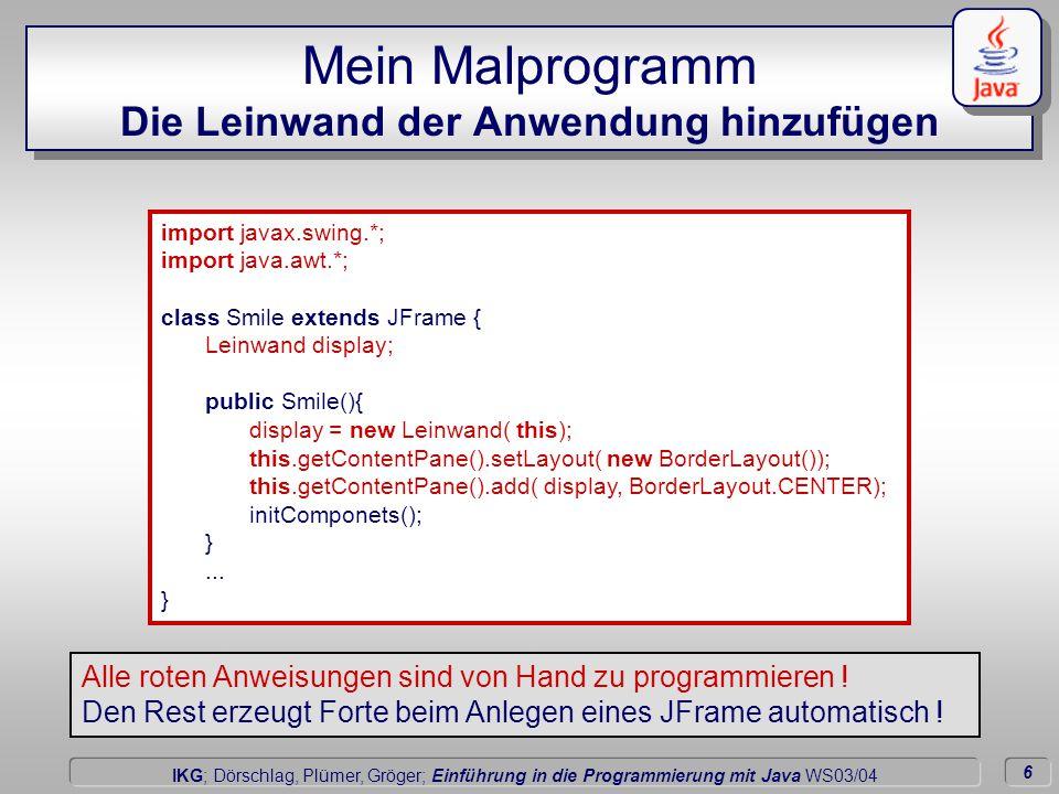 6 Dörschlag IKG; Dörschlag, Plümer, Gröger; Einführung in die Programmierung mit Java WS03/04 Mein Malprogramm Die Leinwand der Anwendung hinzufügen i