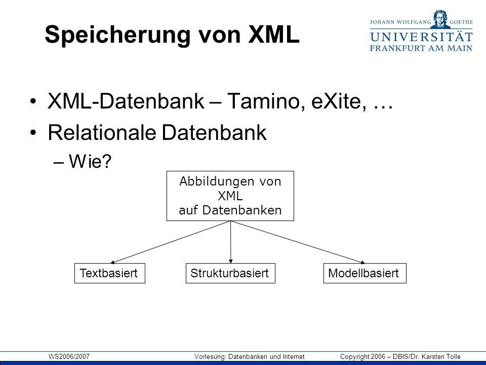 WS2006/2007 Vorlesung: Datenbanken und Internet Copyright 2006 – DBIS/Dr. Karsten Tolle Speicherung von XML XML-Datenbank – Tamino, eXite, … Relationa