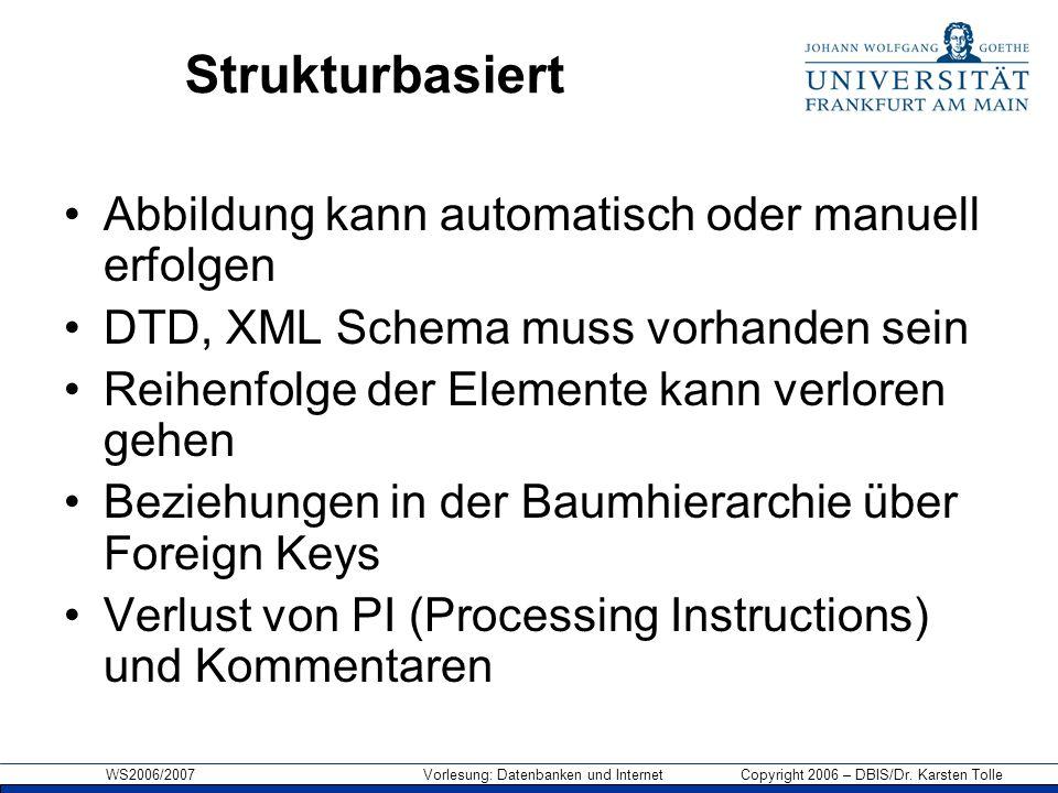 WS2006/2007 Vorlesung: Datenbanken und Internet Copyright 2006 – DBIS/Dr. Karsten Tolle Strukturbasiert Abbildung kann automatisch oder manuell erfolg