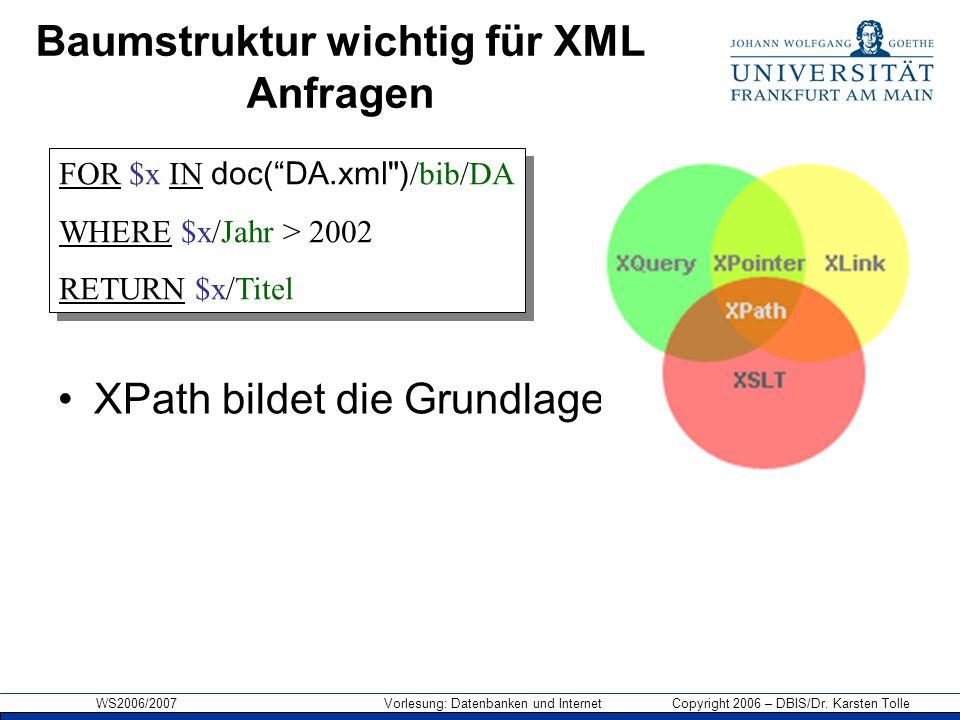 WS2006/2007 Vorlesung: Datenbanken und Internet Copyright 2006 – DBIS/Dr. Karsten Tolle Baumstruktur wichtig für XML Anfragen XPath bildet die Grundla