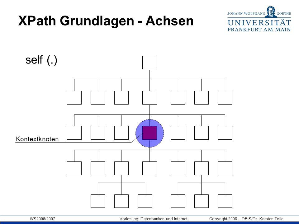 WS2006/2007 Vorlesung: Datenbanken und Internet Copyright 2006 – DBIS/Dr. Karsten Tolle XPath Grundlagen - Achsen Kontextknoten self (.)