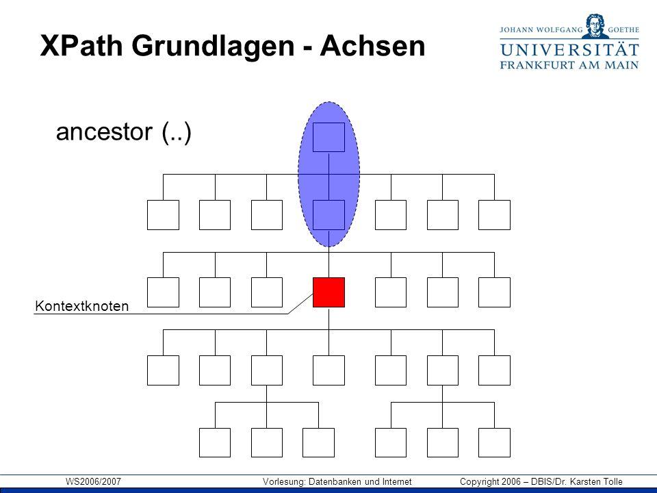 WS2006/2007 Vorlesung: Datenbanken und Internet Copyright 2006 – DBIS/Dr. Karsten Tolle XPath Grundlagen - Achsen Kontextknoten ancestor (..)