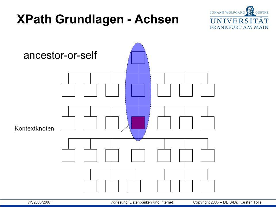 WS2006/2007 Vorlesung: Datenbanken und Internet Copyright 2006 – DBIS/Dr. Karsten Tolle XPath Grundlagen - Achsen Kontextknoten ancestor-or-self