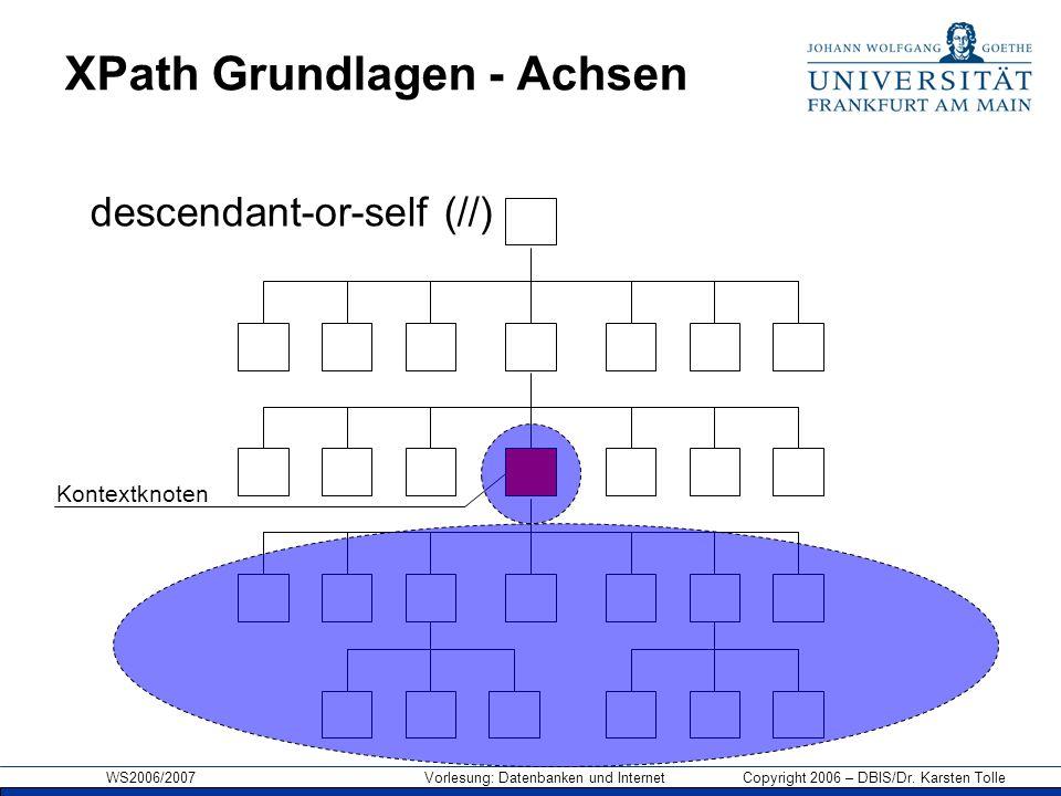 WS2006/2007 Vorlesung: Datenbanken und Internet Copyright 2006 – DBIS/Dr. Karsten Tolle XPath Grundlagen - Achsen Kontextknoten descendant-or-self (//