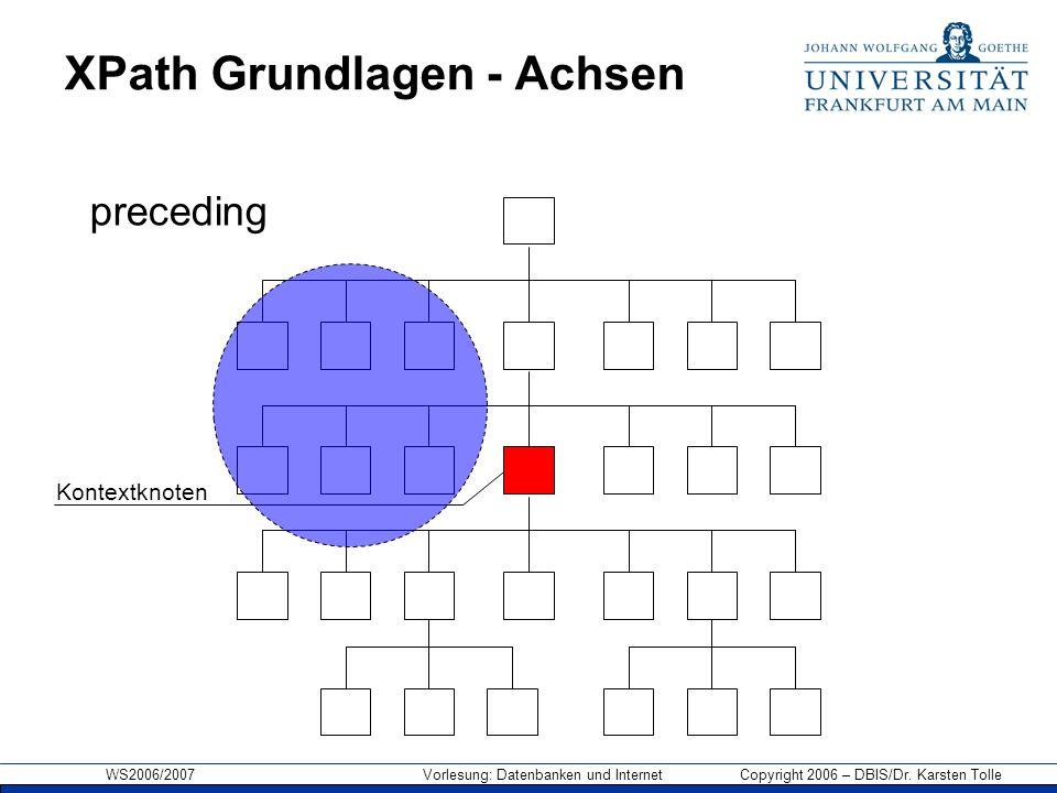 WS2006/2007 Vorlesung: Datenbanken und Internet Copyright 2006 – DBIS/Dr. Karsten Tolle XPath Grundlagen - Achsen Kontextknoten preceding