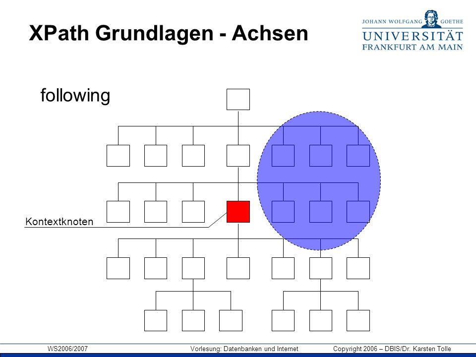 WS2006/2007 Vorlesung: Datenbanken und Internet Copyright 2006 – DBIS/Dr. Karsten Tolle XPath Grundlagen - Achsen Kontextknoten following