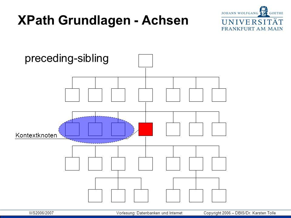 WS2006/2007 Vorlesung: Datenbanken und Internet Copyright 2006 – DBIS/Dr. Karsten Tolle XPath Grundlagen - Achsen Kontextknoten preceding-sibling