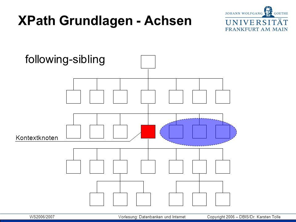 WS2006/2007 Vorlesung: Datenbanken und Internet Copyright 2006 – DBIS/Dr. Karsten Tolle XPath Grundlagen - Achsen Kontextknoten following-sibling