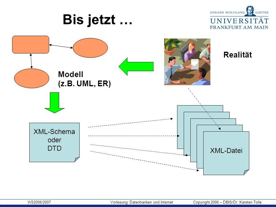 WS2006/2007 Vorlesung: Datenbanken und Internet Copyright 2006 – DBIS/Dr. Karsten Tolle Bis jetzt … XML-Datei XML-Schema oder DTD Realität Modell (z.B
