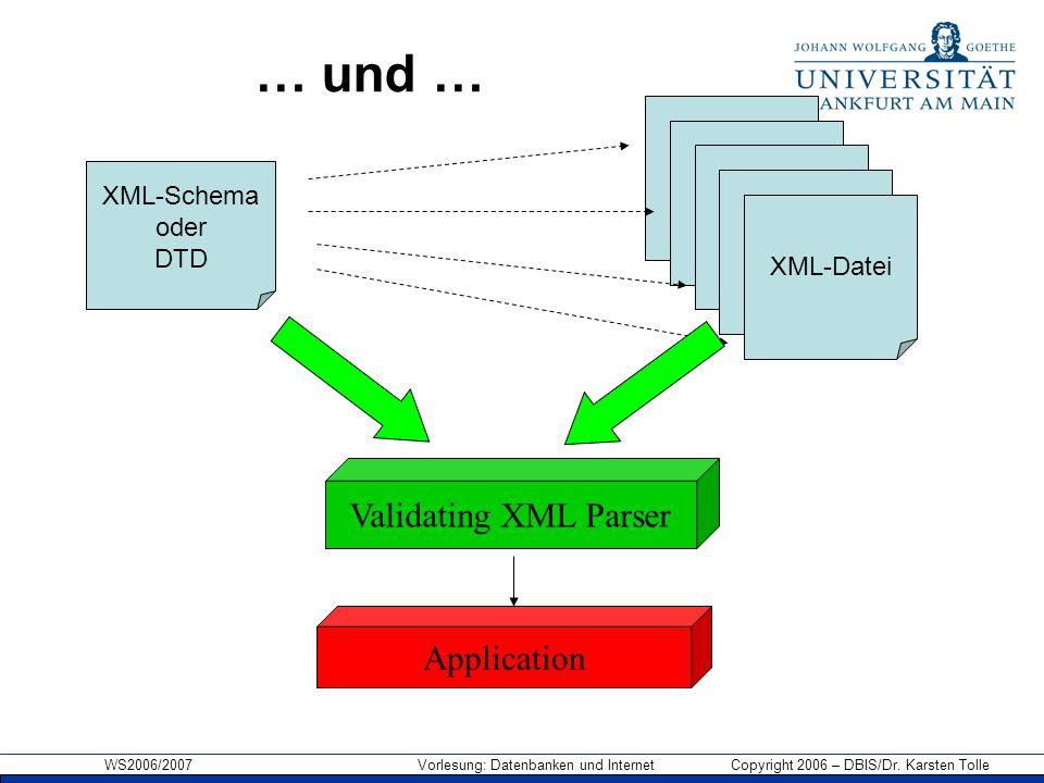 WS2006/2007 Vorlesung: Datenbanken und Internet Copyright 2006 – DBIS/Dr. Karsten Tolle XML-Datei XML-Schema oder DTD XML-Datei … und … Validating XML