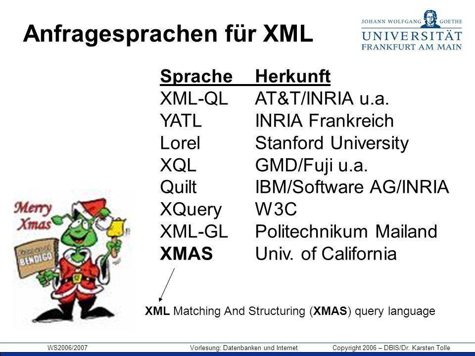WS2006/2007 Vorlesung: Datenbanken und Internet Copyright 2006 – DBIS/Dr. Karsten Tolle Anfragesprachen für XML Sprache Herkunft XML-QL AT&T/INRIA u.a