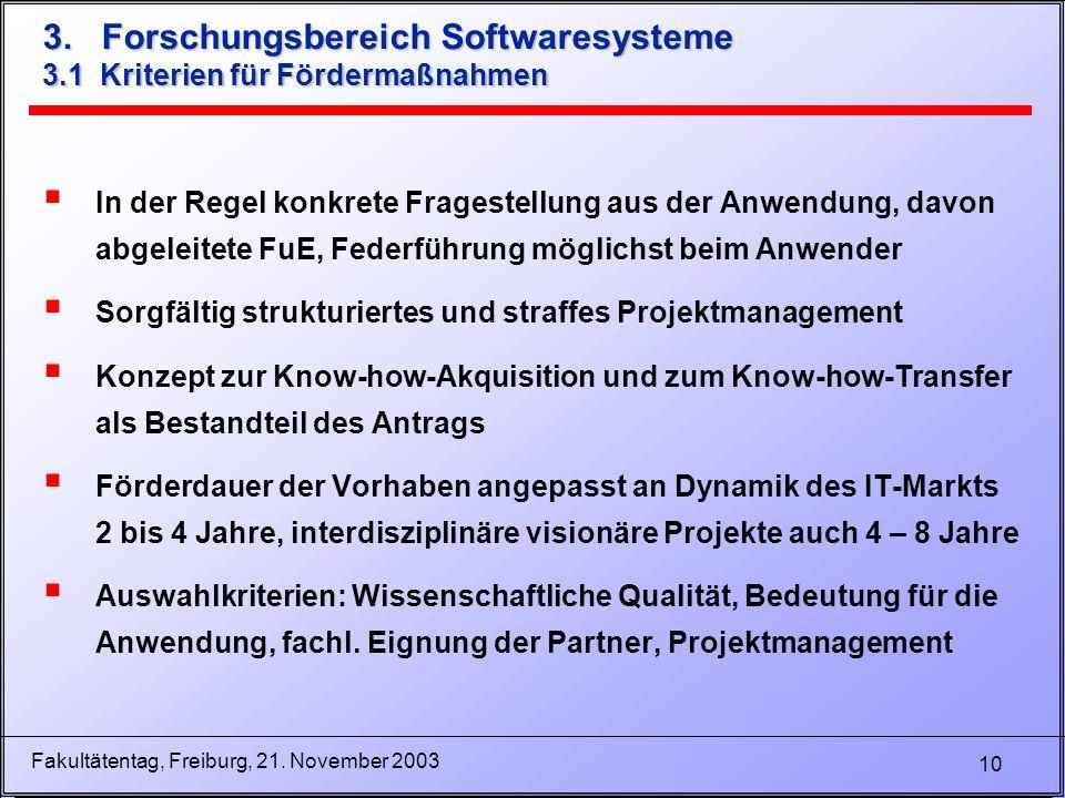 10 Fakultätentag, Freiburg, 21. November 2003 3. Forschungsbereich Softwaresysteme 3.1 Kriterien für Fördermaßnahmen  In der Regel konkrete Fragestel