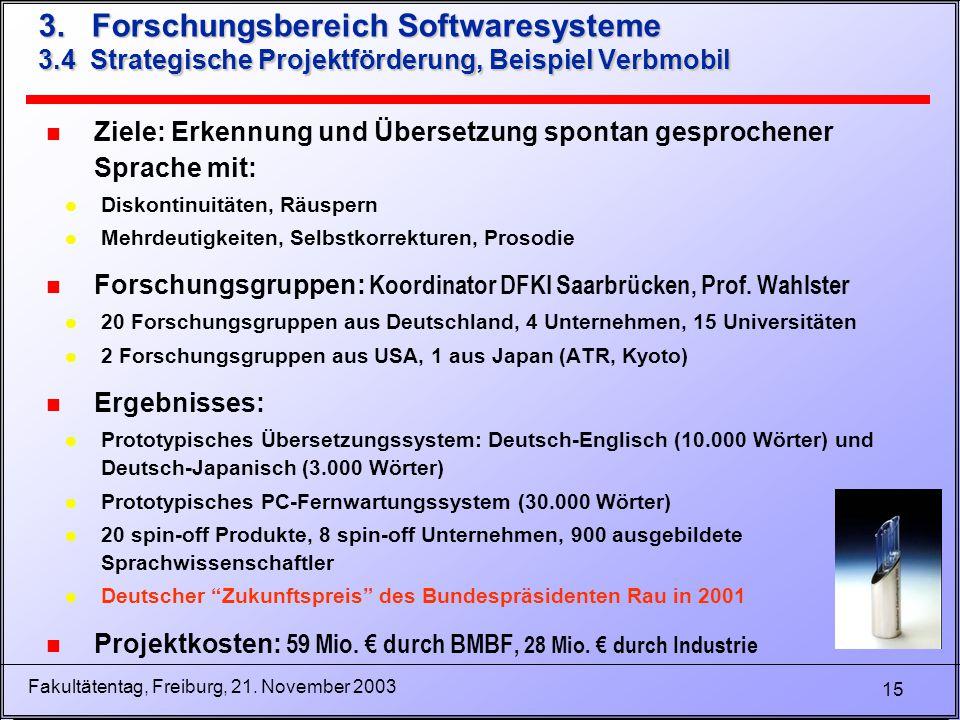 15 Fakultätentag, Freiburg, 21. November 2003 3.