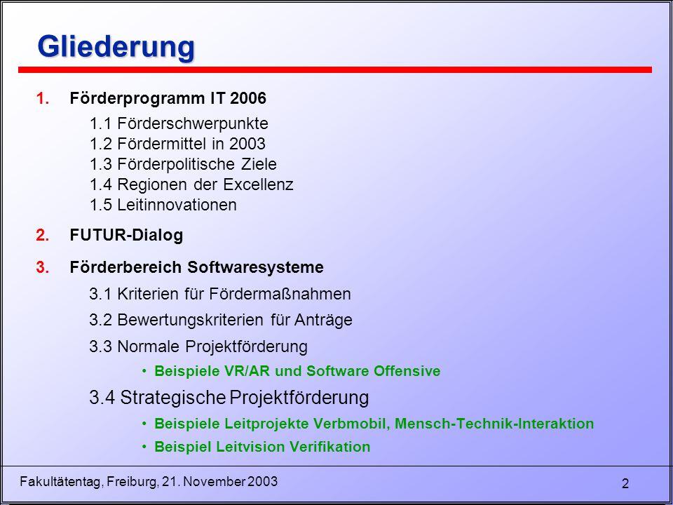 2 Fakultätentag, Freiburg, 21. November 2003 Gliederung Gliederung 1.Förderprogramm IT 2006 1.1 Förderschwerpunkte 1.2 Fördermittel in 2003 1.3 Förder