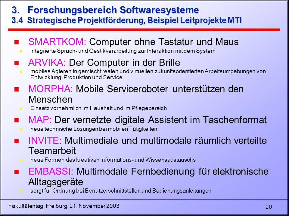 20 Fakultätentag, Freiburg, 21. November 2003 3. Forschungsbereich Softwaresysteme 3.4 Strategische Projektförderung, Beispiel Leitprojekte MTI n SMAR