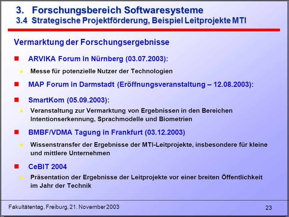 23 Fakultätentag, Freiburg, 21. November 2003 3. Forschungsbereich Softwaresysteme 3.4 Strategische Projektförderung, Beispiel Leitprojekte MTI Vermar