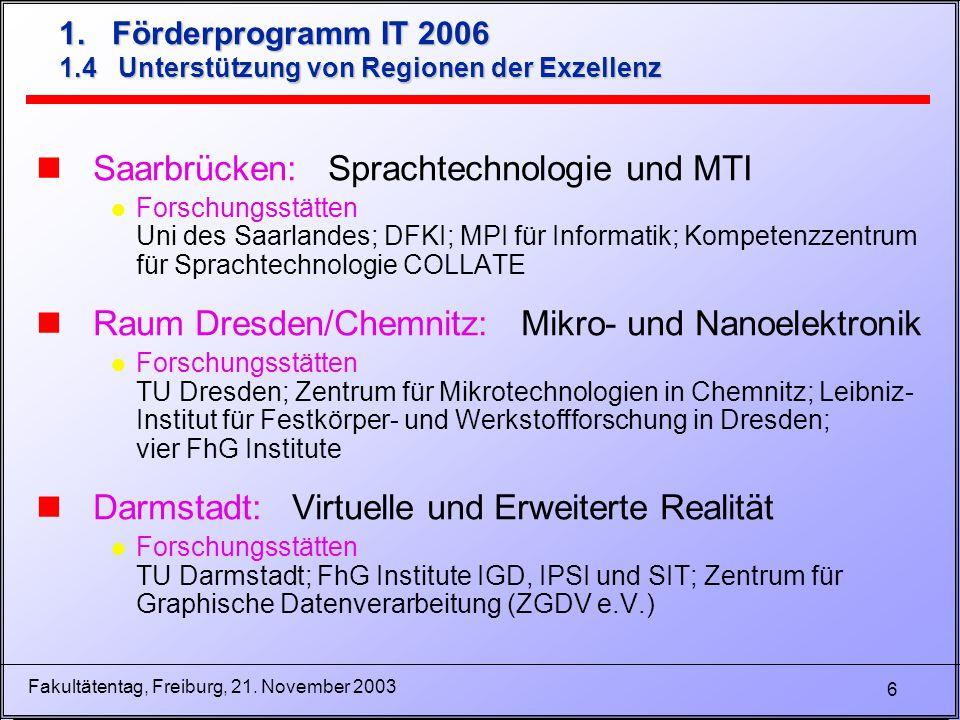 6 Fakultätentag, Freiburg, 21. November 2003 nSaarbrücken: Sprachtechnologie und MTI l Forschungsstätten Uni des Saarlandes; DFKI; MPI für Informatik;