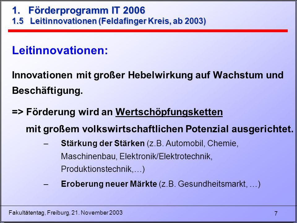 7 Fakultätentag, Freiburg, 21. November 2003 1. Förderprogramm IT 2006 1.5 Leitinnovationen (Feldafinger Kreis, ab 2003) Leitinnovationen: Innovatione