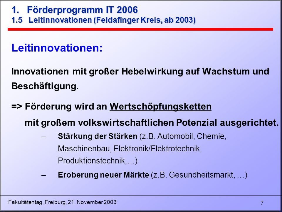 18 Fakultätentag, Freiburg, 21.November 2003 3.